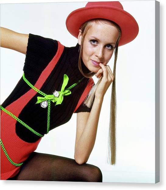 Twiggy With Piaget Watches Canvas Print by Bert Stern