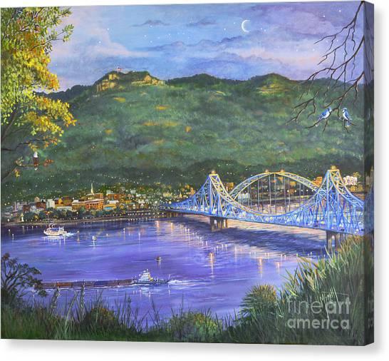 Twilight At Blue Bridges Canvas Print