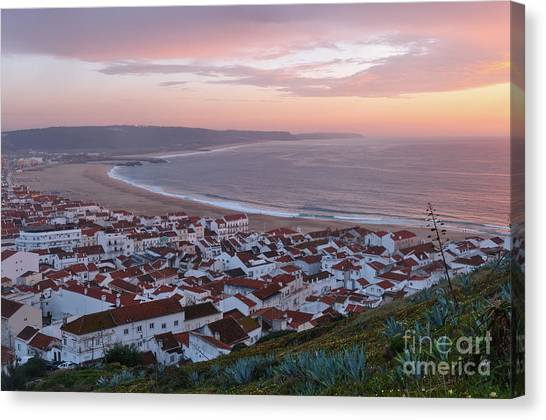 Twilight At Nazare Village Canvas Print