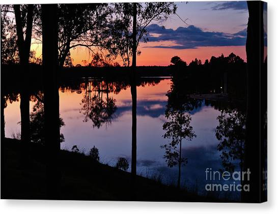 Twilight By The Lake Canvas Print
