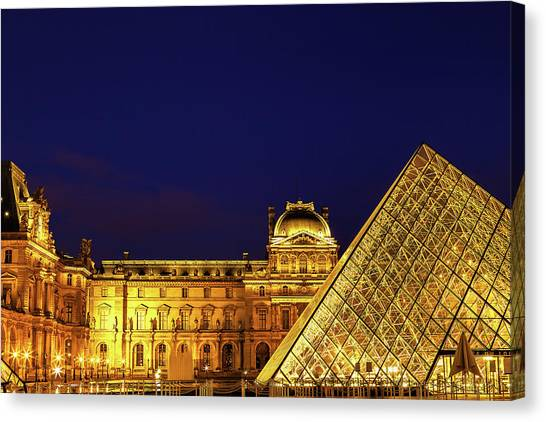 Parisian Canvas Print - Twilight Over The Louvre by Andrew Soundarajan