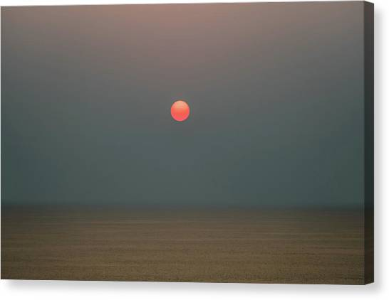 Canvas Print featuring the photograph Twilight Sunset At Sea by William Dickman