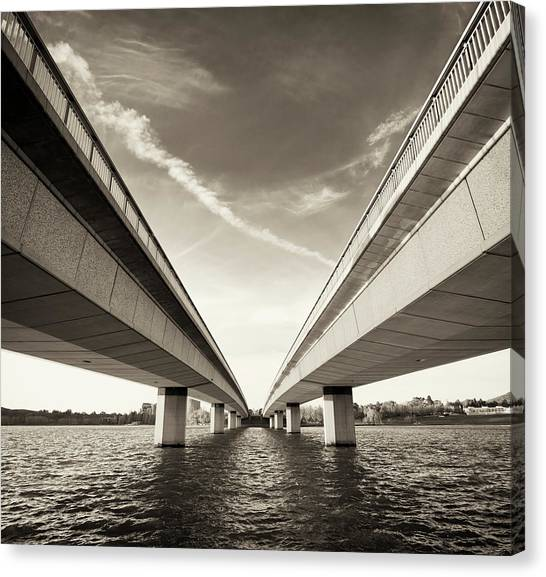 Canberra Canvas Print - Twin Bridges Over Water by Georgeclerk
