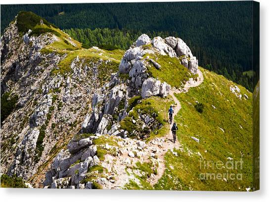 Cyclist Canvas Print - Two Adventure Bike Riders With by Lukas Budinsky