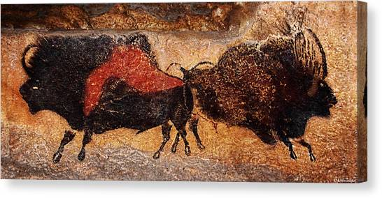 Two Bisons Running Canvas Print