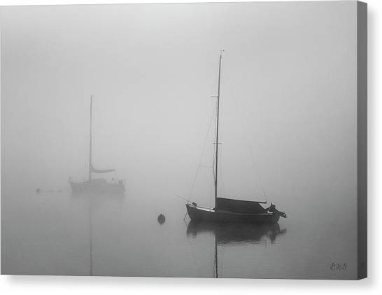 Canvas Print featuring the photograph Two Boats And Fog II Bw by David Gordon