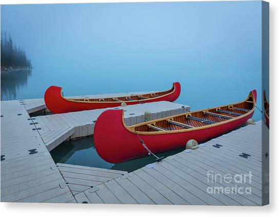 Foggy Forests Canvas Print - Two Canoes by Inge Johnsson