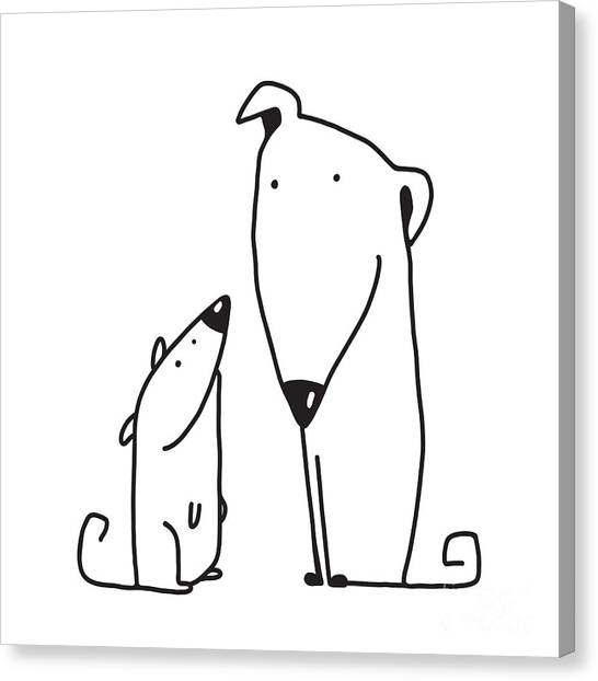 Purebred Canvas Print - Two Cartoon Brown Dog Parent And Kid by Popmarleo