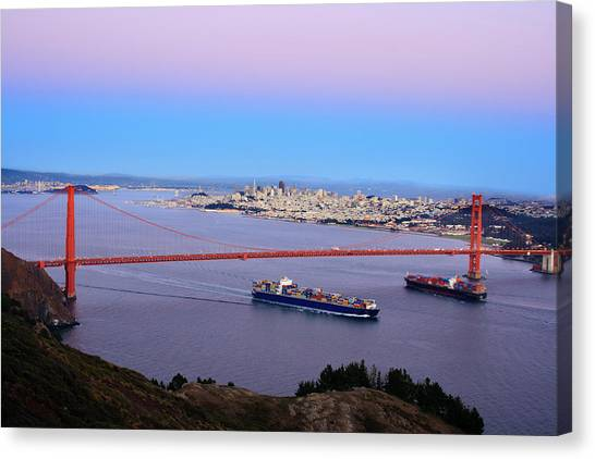 Freight Canvas Print - Two Container Ships Under The Golden by Geri Lavrov