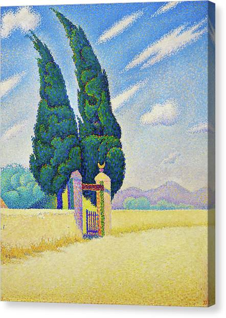 Signac Canvas Print - Two Cypresses - Digital Remastered Edition by Paul Signac