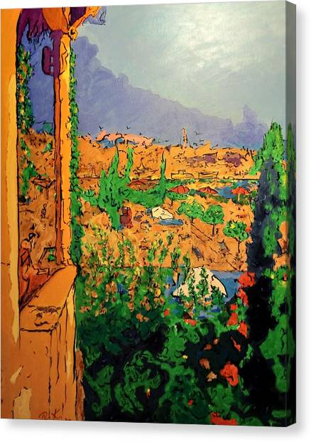 Canvas Print featuring the painting Spritz On The Terrace by Ray Khalife