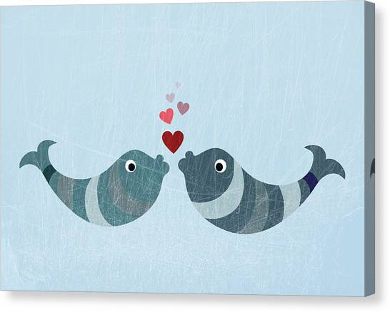 Two Fish Kissing Canvas Print by Fstop Images - Jutta Kuss