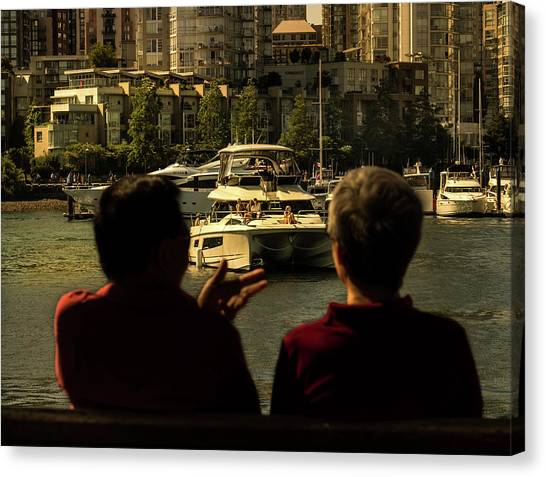 Two Friends At The Vancouver Bay Canvas Print