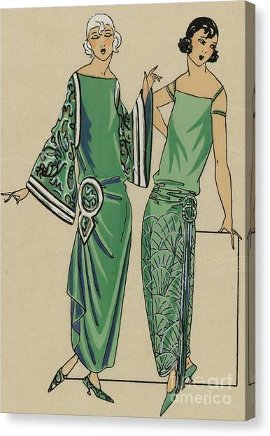 Fashion Plate Canvas Print - Two Green Dresses With Embroidery Designed By Alice Bernard, Print From Tres Parisien, 1923  by French School