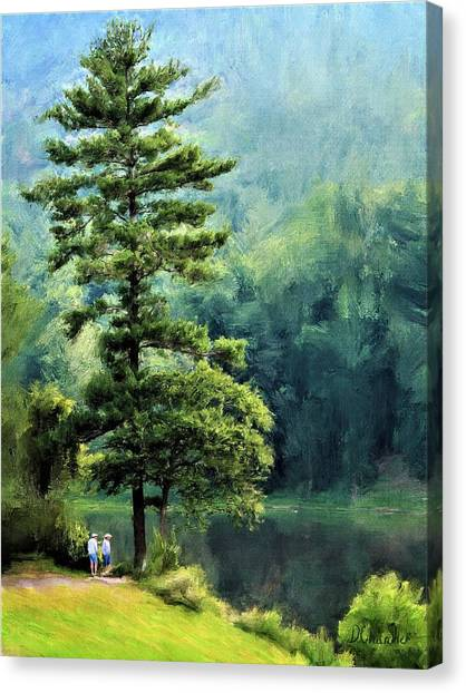 Two Guys And A Pond Canvas Print