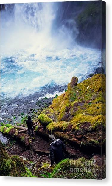 Mountain Climbing Canvas Print - Two Men Explore Koosah Falls In Oregon by Joshua Rainey Photography