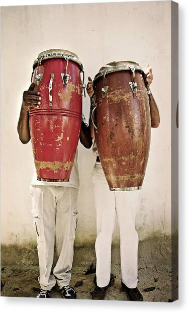 Casual Canvas Print - Two Men Holding Bongos In Front Of by Holly Wilmeth