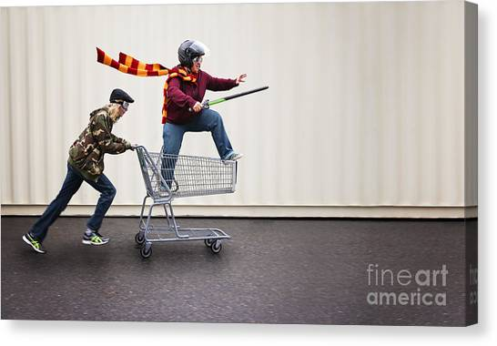 Exercising Canvas Print - Two People Dressed Up As Super Heroes by Annette Shaff