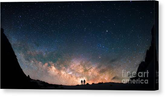 Two People Standing Together Holding Canvas Print by Anton Jankovoy