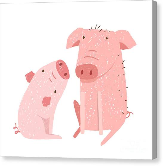 Livestock Canvas Print - Two Pigs Parent And Child Cartoon. Two by Popmarleo