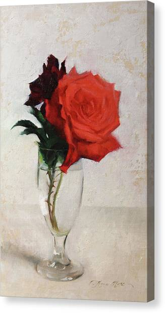 Background Canvas Print - Two Red Roses by Anna Rose Bain