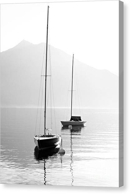 Beauty Canvas Print - Two Sail Boats In Early Morning On The by Kletr