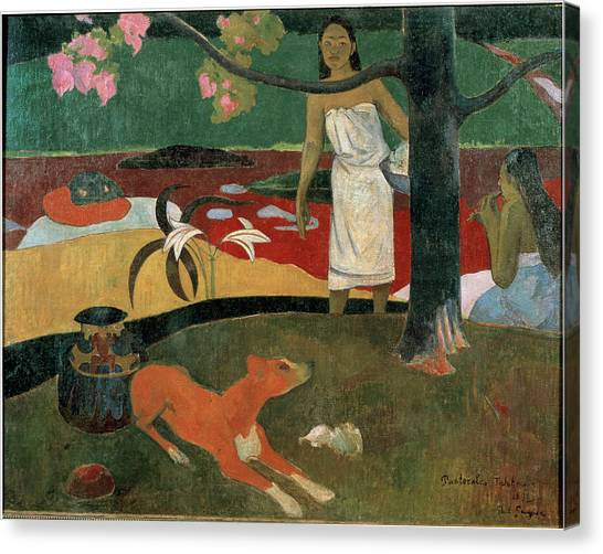 Two Tahitian Women And A Dog Tahitian Canvas Print