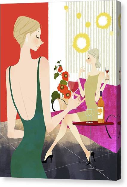 Indoors Canvas Print - Two Woman Drinking Wine by Eastnine Inc.