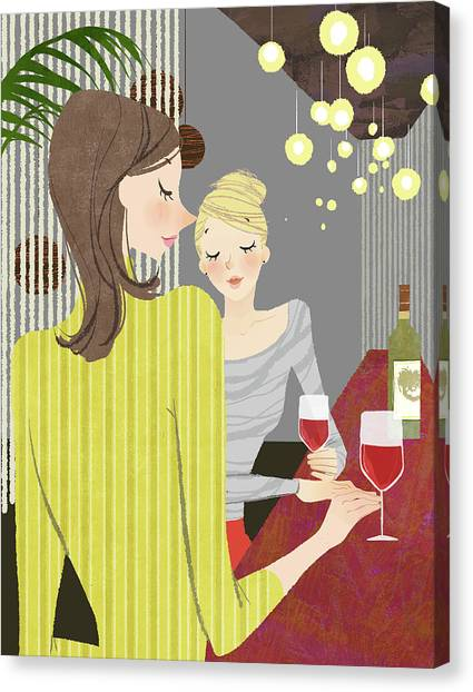 Indoors Canvas Print - Two Woman With Wine At Bar Counter by Eastnine Inc.