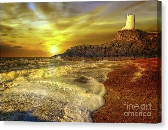 Canvas Print - Twr Mawr Lighthouse Sunset by Adrian Evans