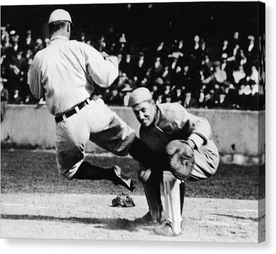 Ty Cobb Sliding Into Catcher Canvas Print