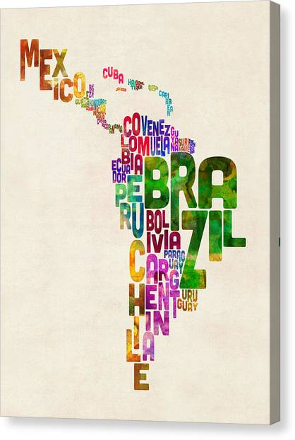South American Canvas Print - Typography Map Of Latin America, Mexico, Central And South America by Michael Tompsett