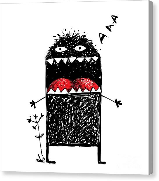 Humorous Canvas Print - Ugly Character Monster Screaming. Black by Popmarleo