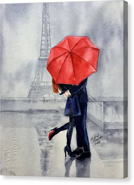 Canvas Print featuring the painting Under A Red Umbrella by Michal Madison