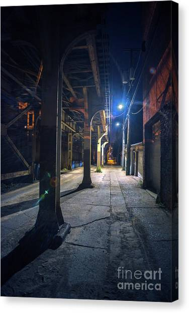 Street Lamp Canvas Print - Under The L by Bruno Passigatti