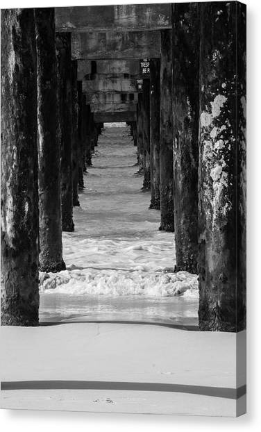 Under The Pier #2 Bw Canvas Print