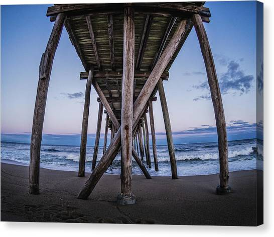 Canvas Print featuring the photograph Under The Pier by Steve Stanger