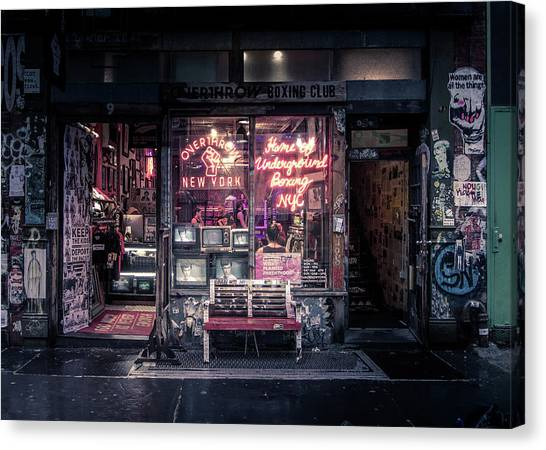 Fighting Canvas Print - Underground Boxing Club Nyc by Nicklas Gustafsson