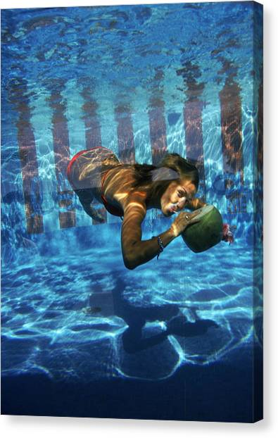 Underwater Drink Canvas Print by Slim Aarons