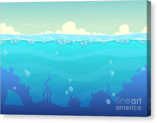 Horizontal Canvas Print - Underwater Seamless Landscape, Sea by Lilu330