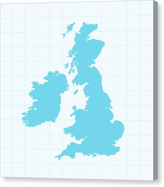United Kingdom Map On Grid On Blue Canvas Print by Iconeer