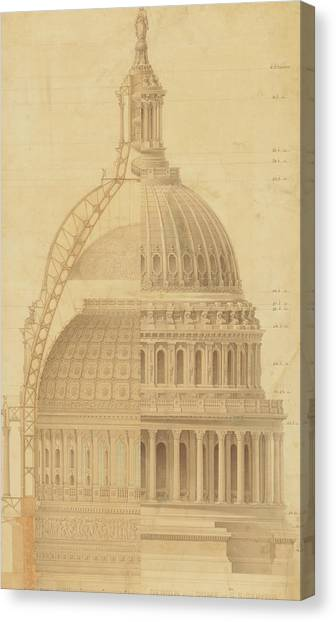 United States Capitol, Section Of Dome, 1855 Canvas Print
