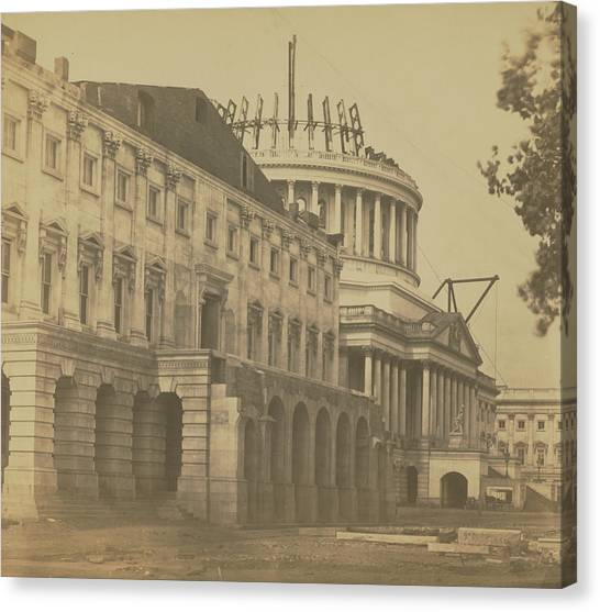 United States Capitol Under Construction Canvas Print