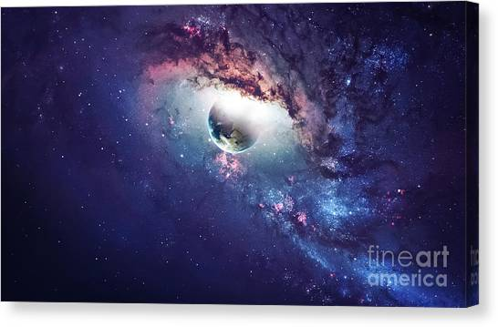 Solar System Canvas Print - Universe Scene With Planets, Stars And by Vadim Sadovski