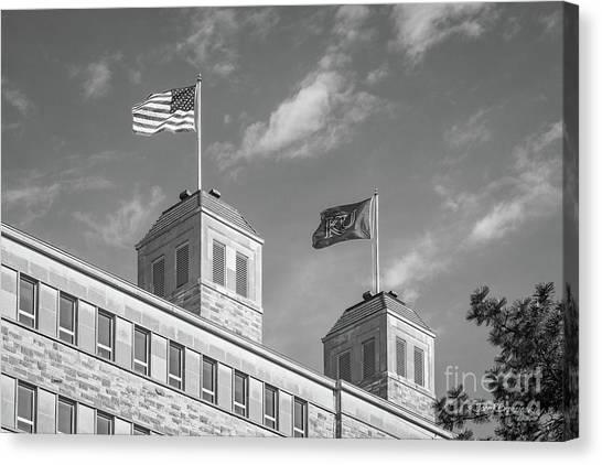 University Of Kansas Canvas Print - University Of Kansas Fraiser Hall Flag Towers by University Icons