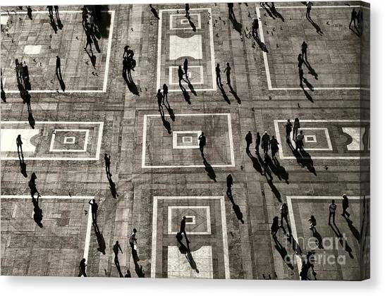 Urban Life Canvas Print - Unrecognizable People Visible Only As by Sladkozaponi