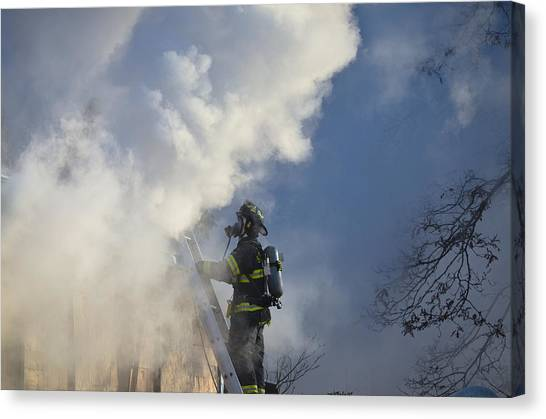 Canvas Print featuring the photograph Up In Smoke by Carl Young