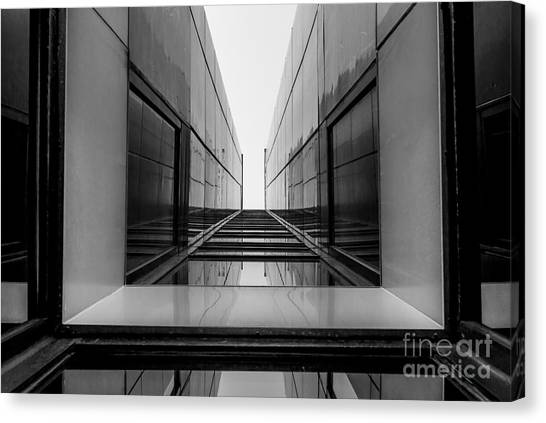 Grey Background Canvas Print - Urban Geometry, Looking Up To Glass by Taurus106