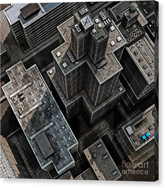 Block Canvas Print - Urban Rooftops, Aerial View Of A 3d by Petrafler