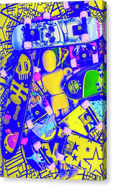 Skateboarding Canvas Print - Urban Skater Pileup  by Jorgo Photography - Wall Art Gallery